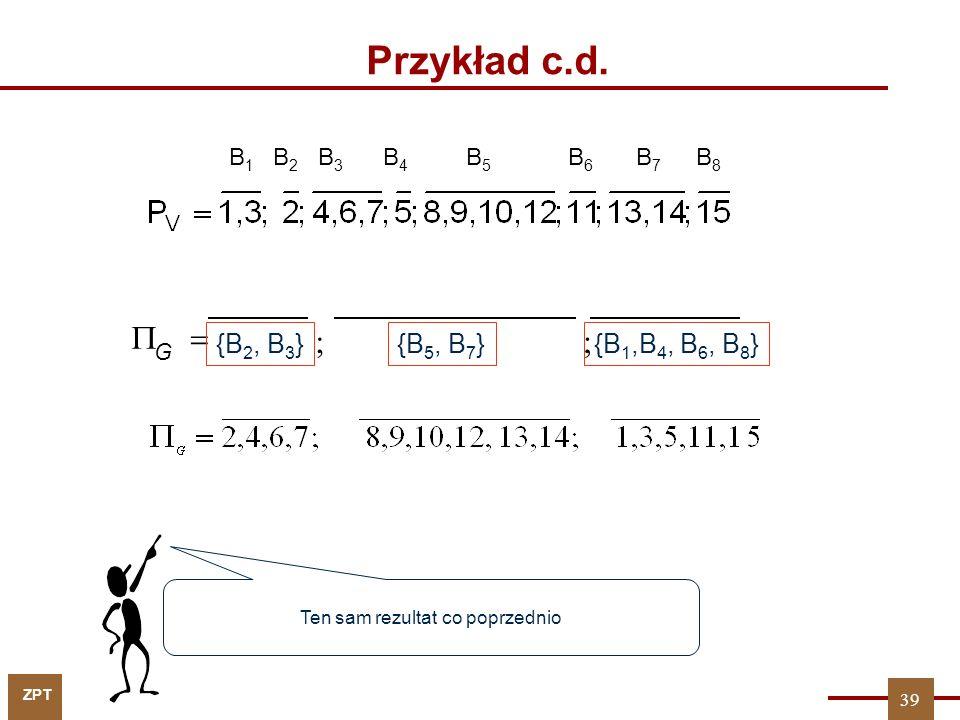 ZPT 39 Przykład c.d. B 1 B 2 B 3 B 4 B5B5 B6B6 B7B7 B8B8 Ten sam rezultat co poprzednio G ; {B 1,B 4, B 6, B 8 } ; {B 2, B 3 } {B 5, B 7 }