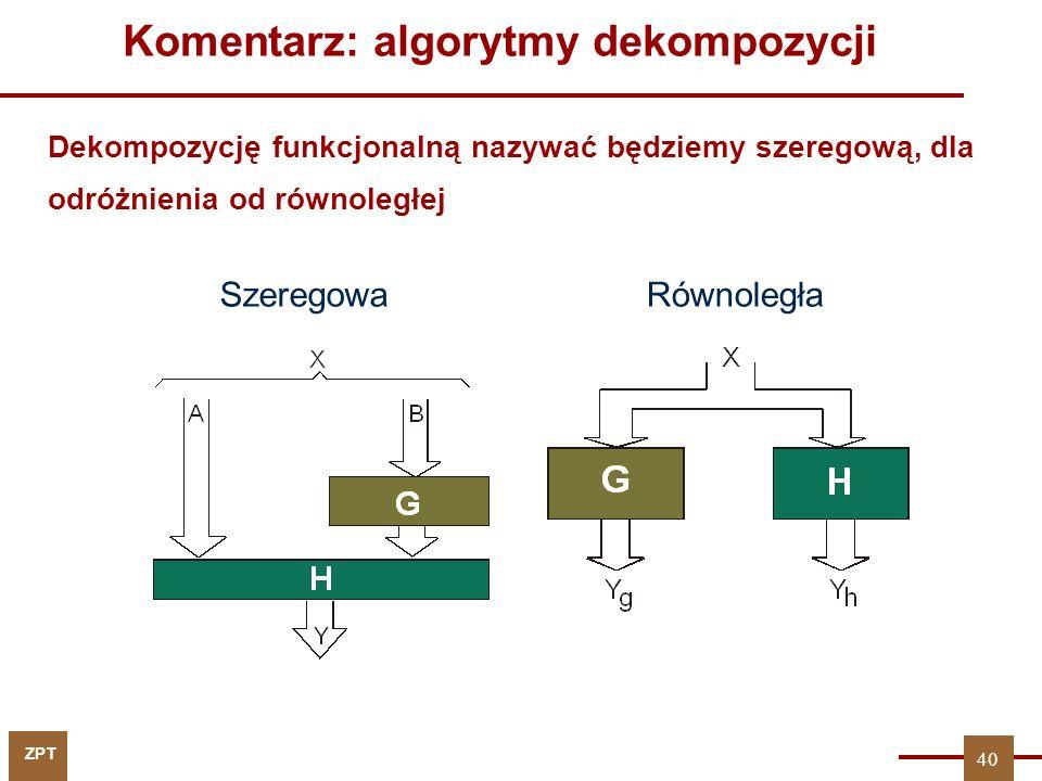 ZPT 40 Komentarz: algorytmy dekompozycji SzeregowaRównoległa Dekompozycję funkcjonalną nazywać będziemy szeregową, dla odróżnienia od równoległej