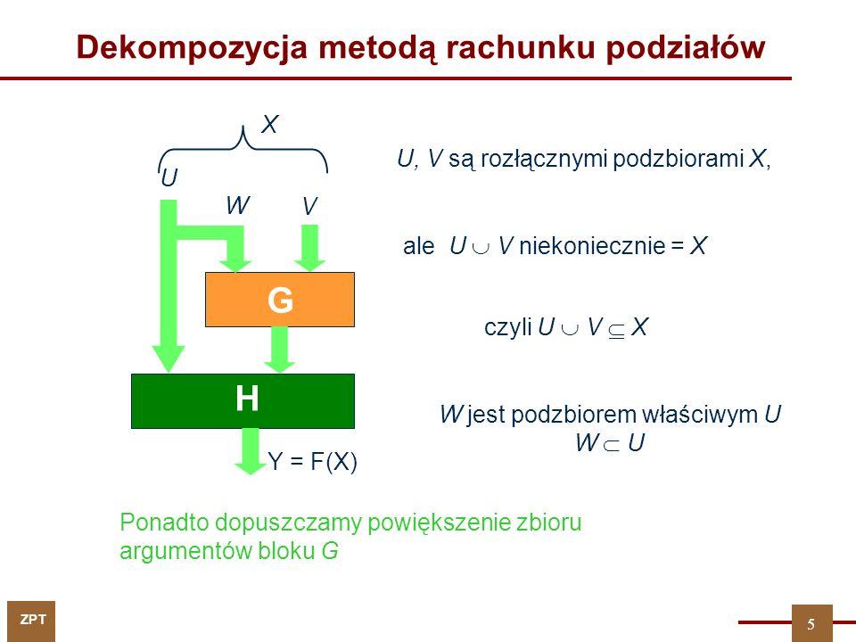 ZPT 5 V U G H Y = F(X) W czyli U V X Dekompozycja metodą rachunku podziałów X Ponadto dopuszczamy powiększenie zbioru argumentów bloku G U, V są rozłą