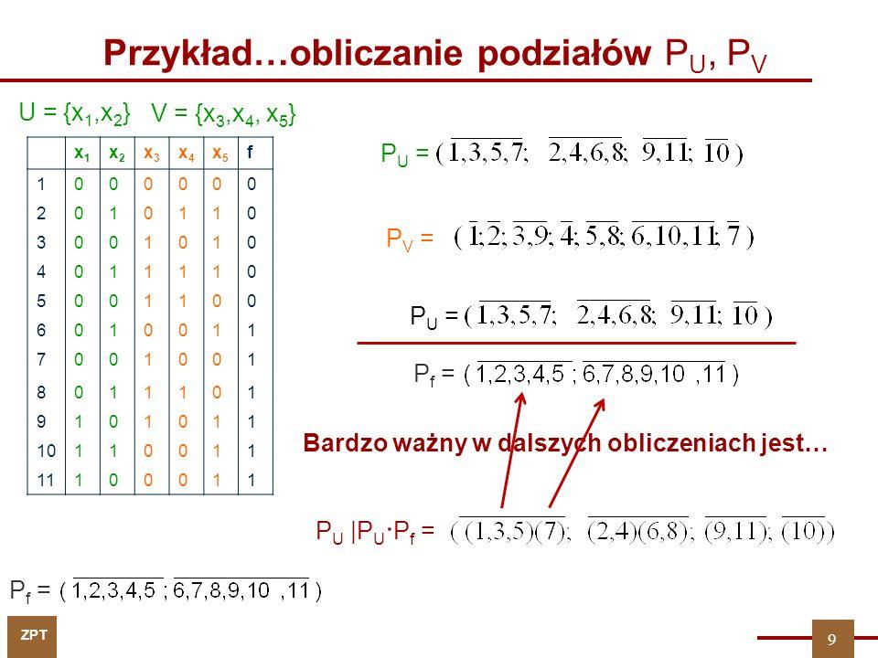 ZPT 9 Przykład…obliczanie podziałów P U, P V P f = P U |P U · P f = P U = P V = U = {x 1,x 2 } Bardzo ważny w dalszych obliczeniach jest… P f = x1x1 x