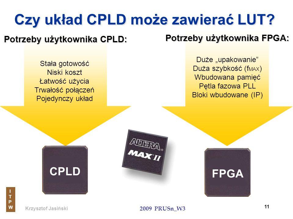 Krzysztof Jasiński ITPWITPW 2009 PRUSn_W3 11 FPGA Czy układ CPLD może zawierać LUT? Potrzeby użytkownika CPLD: Stała gotowość Niski koszt Łatwość użyc