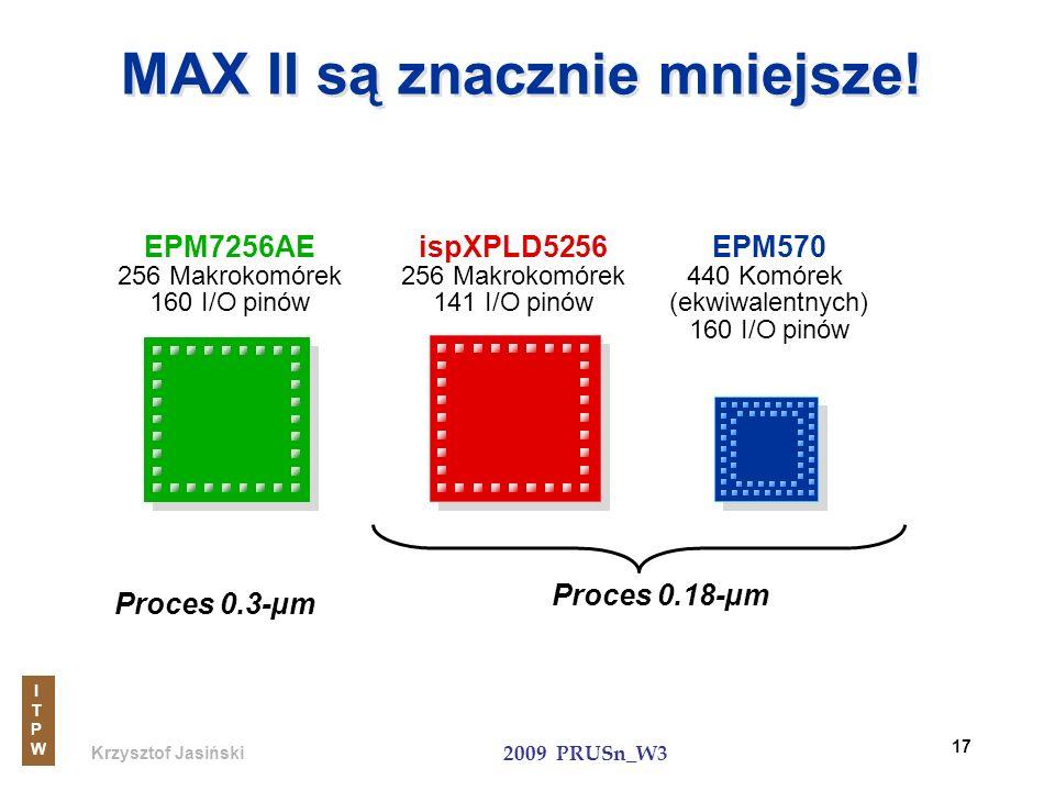 Krzysztof Jasiński ITPWITPW 2009 PRUSn_W3 17 MAX II są znacznie mniejsze! EPM7256AE 256 Makrokomórek 160 I/O pinów Proces 0.3-µm Proces 0.18-µm ispXPL