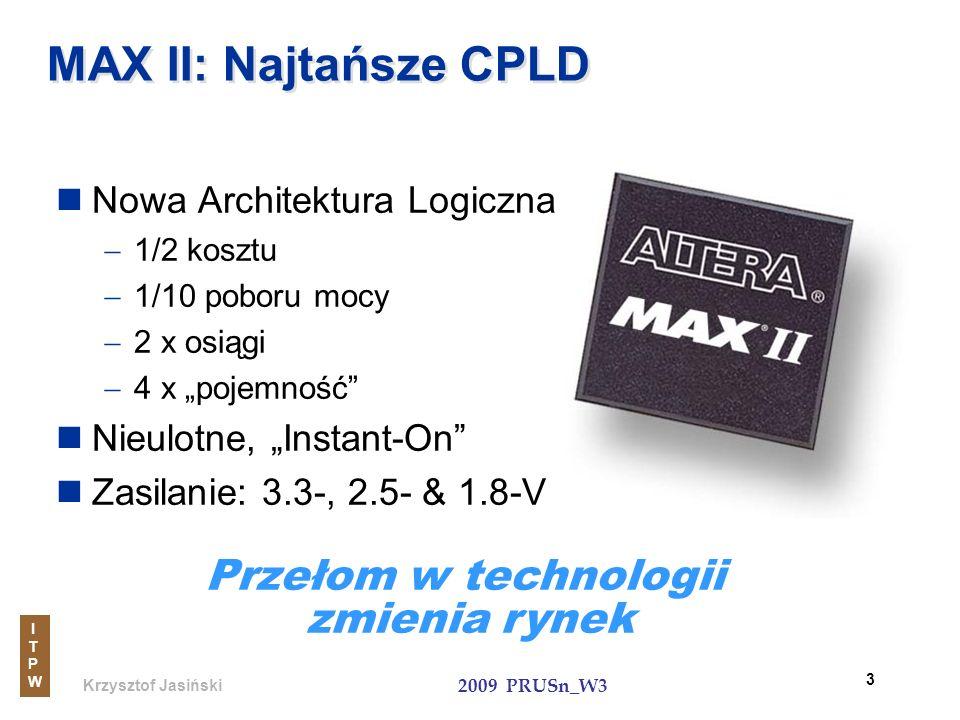 Krzysztof Jasiński ITPWITPW 2009 PRUSn_W3 54 MAX II zastępują małe ASSPs (przykład funkcji interfejsu PCI) PLX 9030 32-Bit, 33MHz PCI 32-Bit Local Bus Mieszane funkcje EPM1270 32-Bit, 33-MHz PCI 32-Bit Local Bus 50% wykorzystania $9.00 $4.50 Cena masowa (100K szt.) EPM1270F256C5 Niski koszt, duża pojemność
