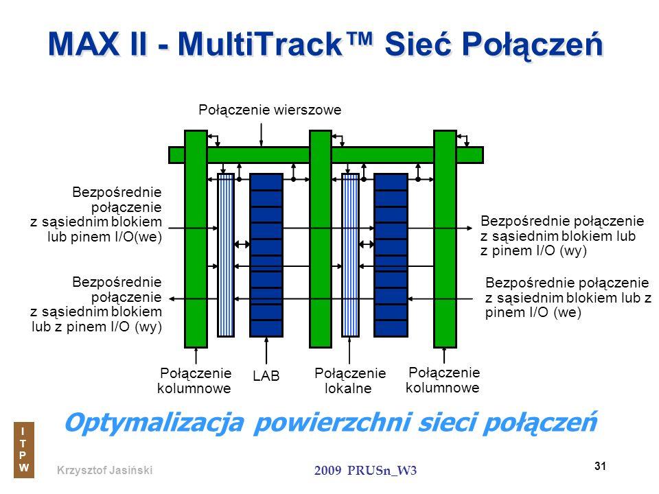 Krzysztof Jasiński ITPWITPW 2009 PRUSn_W3 31 MAX II - MultiTrack Sieć Połączeń Połączenie wierszowe Połączenie kolumnowe LAB Połączenie lokalne Bezpoś