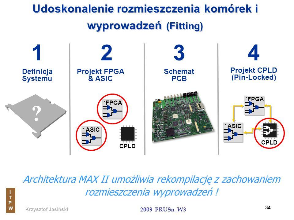 Krzysztof Jasiński ITPWITPW 2009 PRUSn_W3 34 Udoskonalenie rozmieszczenia komórek i wyprowadzeń (Fitting) Schemat PCB Definicja Systemu Architektura M