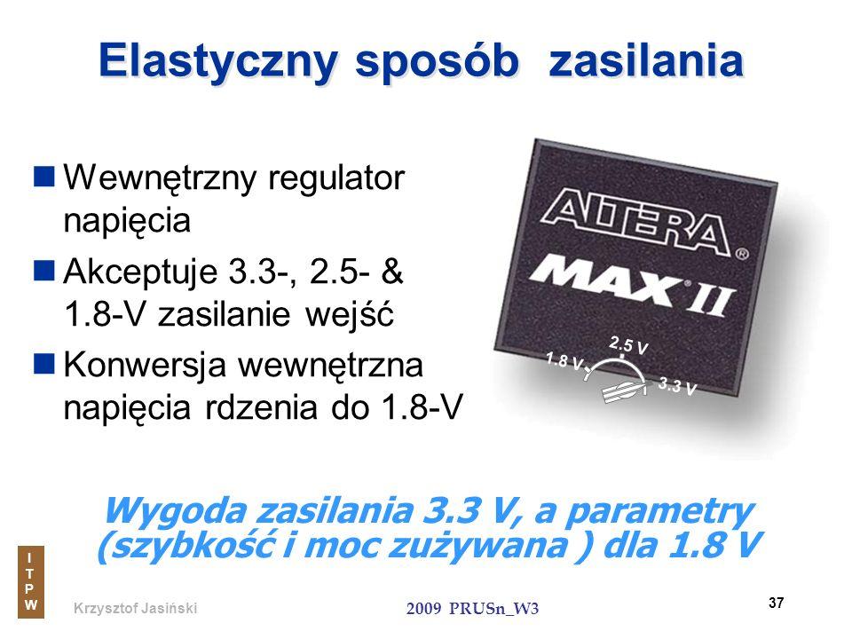 Krzysztof Jasiński ITPWITPW 2009 PRUSn_W3 37 Elastyczny sposób zasilania Wewnętrzny regulator napięcia Akceptuje 3.3-, 2.5- & 1.8-V zasilanie wejść Ko