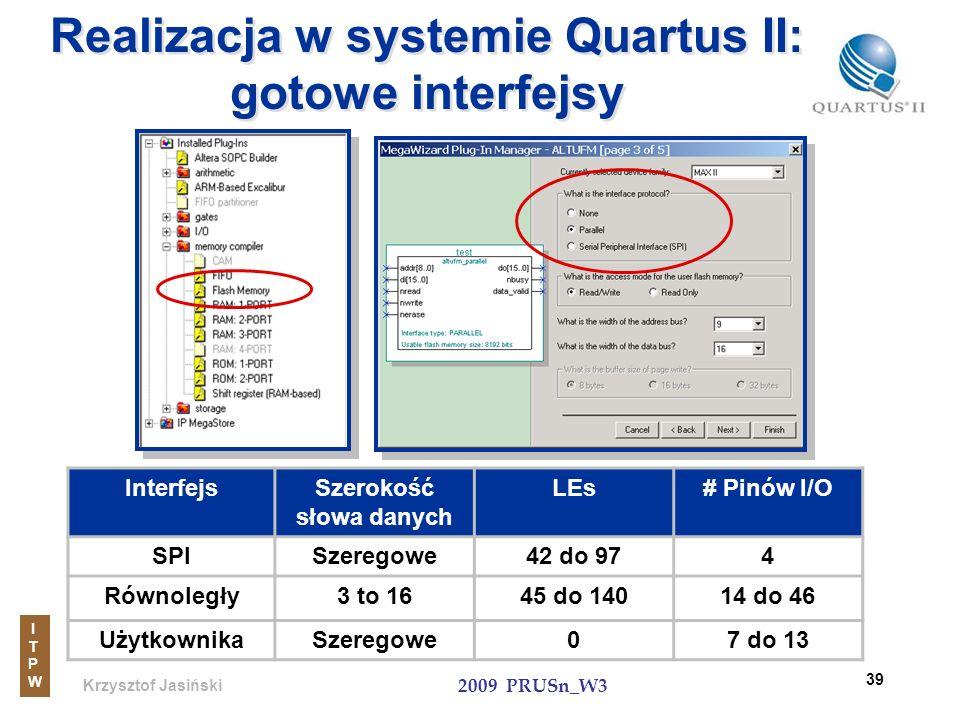Krzysztof Jasiński ITPWITPW 2009 PRUSn_W3 39 Realizacja w systemie Quartus II: gotowe interfejsy InterfejsSzerokość słowa danych LEs# Pinów I/O SPISze