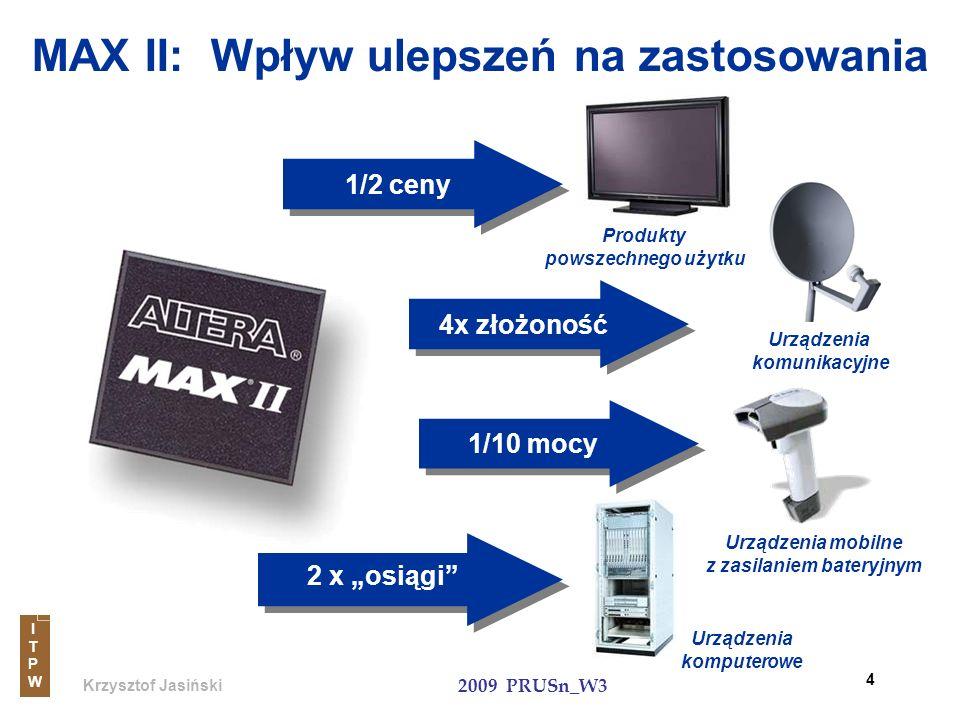 Krzysztof Jasiński ITPWITPW 2009 PRUSn_W3 25 Porównanie rodzin: MAX & MAX II ParametryMAXMAX II Proces Technologiczny0.3-um EEPROM0.18-um Flash Architektura LogicznaProduct TermLook-Up Table (LUT) Zakres pojemności32 - 512 makrokomórek 128 - 2210 makrokomórek (240 to 2,210 LEs) Architektura połączeńGlobalnaWiersze & kolumny Pamięć Flash (On-Chip)brak8 Kbits (!) Max.