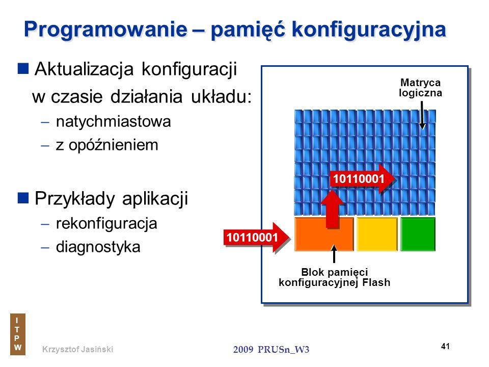 Krzysztof Jasiński ITPWITPW 2009 PRUSn_W3 41 Programowanie – pamięć konfiguracyjna Aktualizacja konfiguracji w czasie działania układu: natychmiastowa
