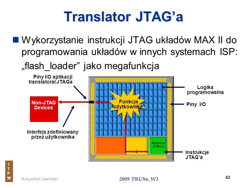 Krzysztof Jasiński ITPWITPW 2009 PRUSn_W3 43 Translator JTAGa Wykorzystanie instrukcji JTAG układów MAX II do programowania układów w innych systemach