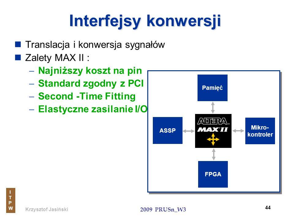 Krzysztof Jasiński ITPWITPW 2009 PRUSn_W3 44 Interfejsy konwersji Translacja i konwersja sygnałów Zalety MAX II : Najniższy koszt na pin Standard zgod