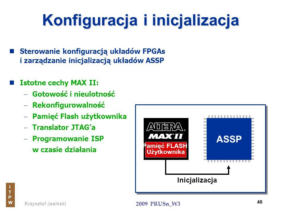 Krzysztof Jasiński ITPWITPW 2009 PRUSn_W3 46 Konfiguracja i inicjalizacja Sterowanie konfiguracją układów FPGAs i zarządzanie inicjalizacją układów AS