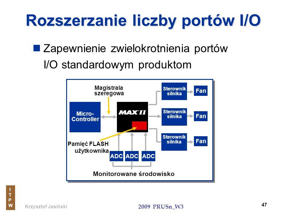 Krzysztof Jasiński ITPWITPW 2009 PRUSn_W3 47 Rozszerzanie liczby portów I/O Zapewnienie zwielokrotnienia portów I/O standardowym produktom Micro- Cont