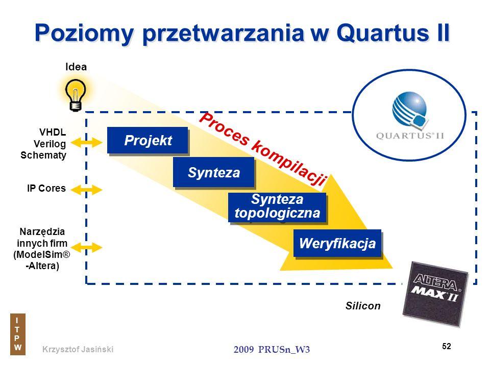 Krzysztof Jasiński ITPWITPW 2009 PRUSn_W3 52 Poziomy przetwarzania w Quartus II Silicon Idea IP Cores Narzędzia innych firm (ModelSim® -Altera) Weryfi