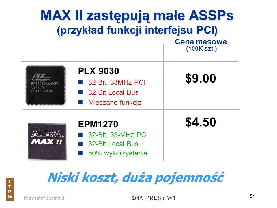 Krzysztof Jasiński ITPWITPW 2009 PRUSn_W3 54 MAX II zastępują małe ASSPs (przykład funkcji interfejsu PCI) PLX 9030 32-Bit, 33MHz PCI 32-Bit Local Bus