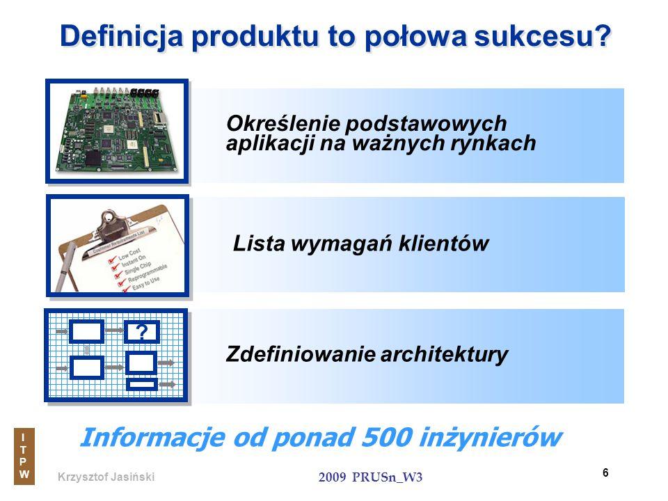 Krzysztof Jasiński ITPWITPW 2009 PRUSn_W3 6 Definicja produktu to połowa sukcesu? Informacje od ponad 500 inżynierów Zdefiniowanie architektury ? Okre
