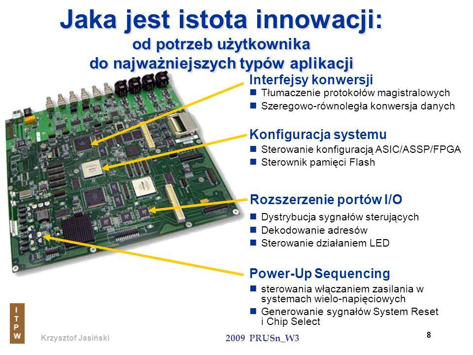 Krzysztof Jasiński ITPWITPW 2009 PRUSn_W3 9 Szybsze i pojemniejsze Interfejsy konwersji Pamięć FLASH użytkownika Konfiguracja systemu Więcej pinów, elastyczne sterowanie Rozszerzenie portów I/O Mniejsza moc i większa gęstość Power-up Sequencing Ukierunkowane wymagania Wymagania klienta Wspólne potrzeby : niski koszt, nieulotność, stała gotowość, pojedynczy układ, reprogramowalność Wspólne potrzeby : niski koszt, nieulotność, stała gotowość, pojedynczy układ, reprogramowalność