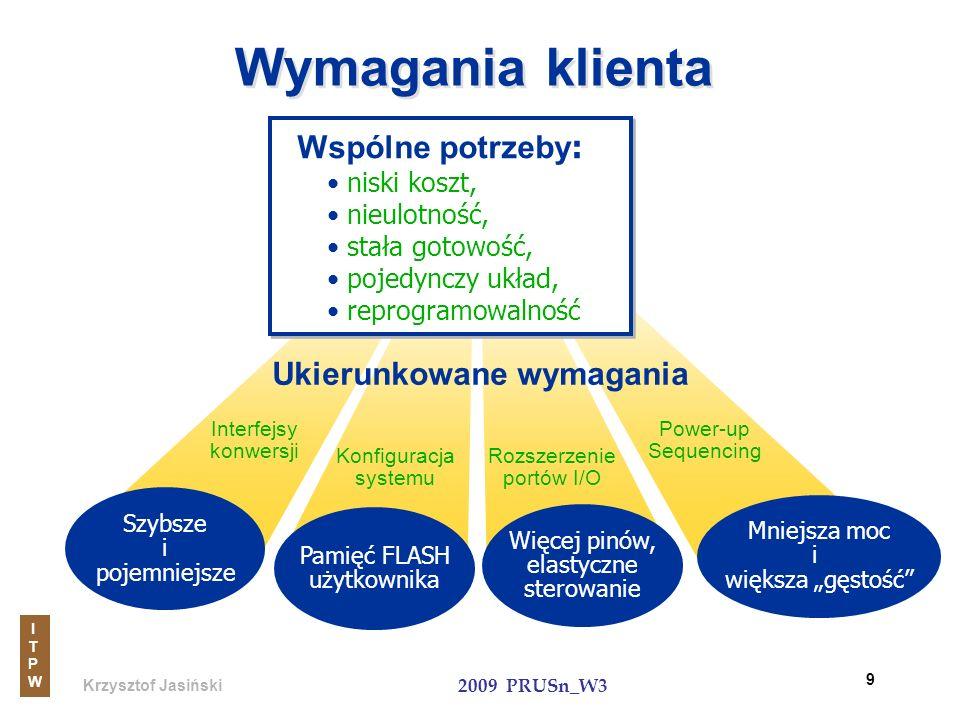 Krzysztof Jasiński ITPWITPW 2009 PRUSn_W3 9 Szybsze i pojemniejsze Interfejsy konwersji Pamięć FLASH użytkownika Konfiguracja systemu Więcej pinów, el