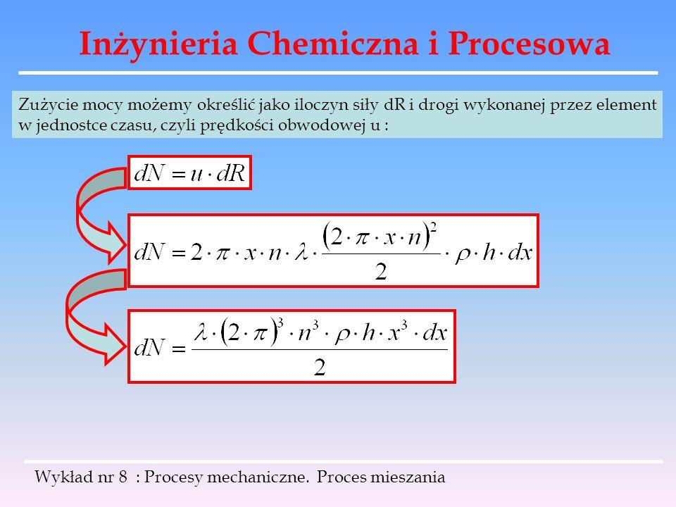 Inżynieria Chemiczna i Procesowa Wykład nr 8 : Procesy mechaniczne. Proces mieszania Zużycie mocy możemy określić jako iloczyn siły dR i drogi wykonan