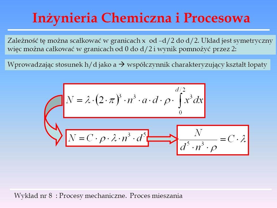 Inżynieria Chemiczna i Procesowa Wykład nr 8 : Procesy mechaniczne. Proces mieszania Zależność tę można scałkować w granicach x od –d/2 do d/2. Układ