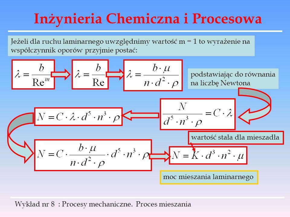 Inżynieria Chemiczna i Procesowa Wykład nr 8 : Procesy mechaniczne. Proces mieszania Jeżeli dla ruchu laminarnego uwzględnimy wartość m = 1 to wyrażen
