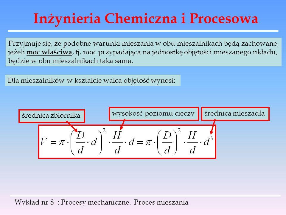 Inżynieria Chemiczna i Procesowa Wykład nr 8 : Procesy mechaniczne. Proces mieszania Przyjmuje się, że podobne warunki mieszania w obu mieszalnikach b