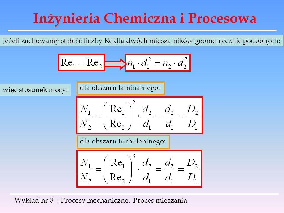 Inżynieria Chemiczna i Procesowa Wykład nr 8 : Procesy mechaniczne. Proces mieszania Jeżeli zachowamy stałość liczby Re dla dwóch mieszalników geometr