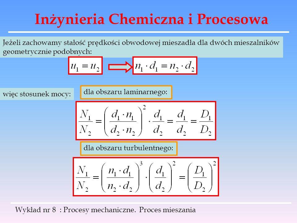 Inżynieria Chemiczna i Procesowa Wykład nr 8 : Procesy mechaniczne. Proces mieszania Jeżeli zachowamy stałość prędkości obwodowej mieszadła dla dwóch