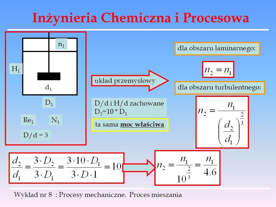 Inżynieria Chemiczna i Procesowa Wykład nr 8 : Procesy mechaniczne. Proces mieszania d1d1 D1D1 H1H1 n1n1 Re 1 N1N1 ta sama moc właściwa układ przemysł