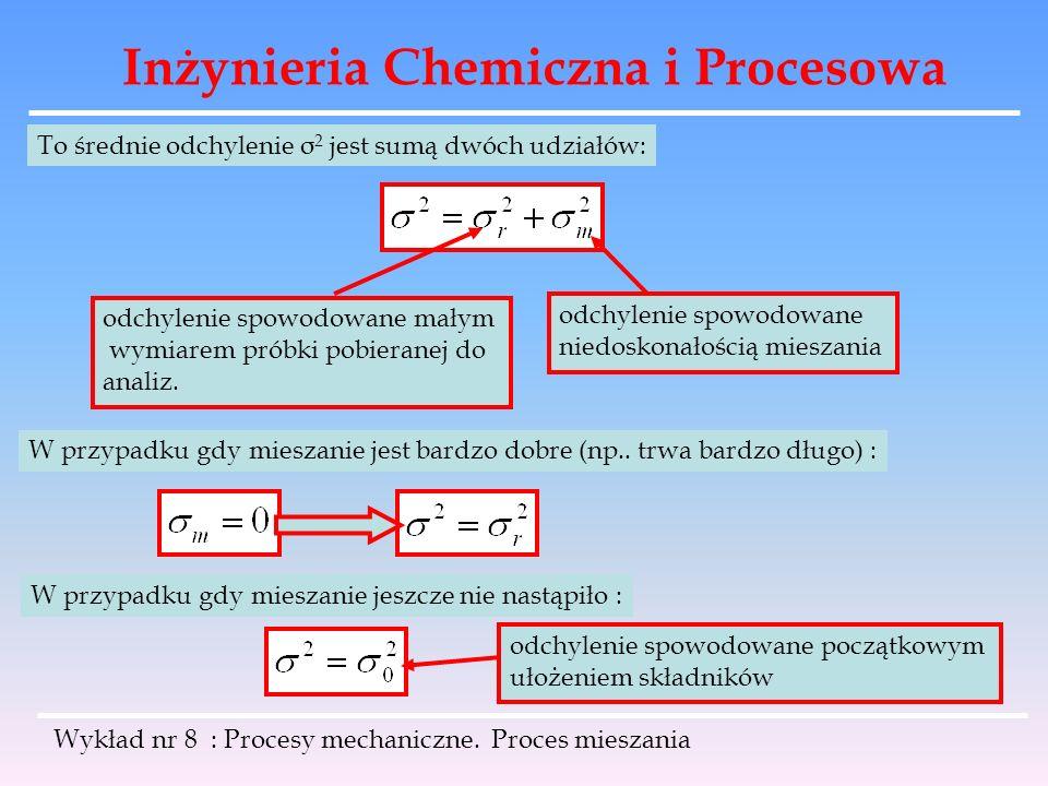 Inżynieria Chemiczna i Procesowa Wykład nr 8 : Procesy mechaniczne. Proces mieszania To średnie odchylenie σ 2 jest sumą dwóch udziałów: odchylenie sp