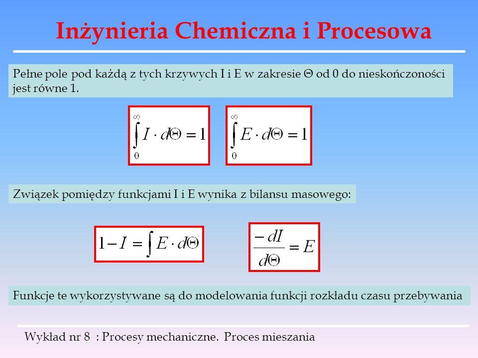 Inżynieria Chemiczna i Procesowa Wykład nr 8 : Procesy mechaniczne. Proces mieszania Pełne pole pod każdą z tych krzywych I i E w zakresie Θ od 0 do n