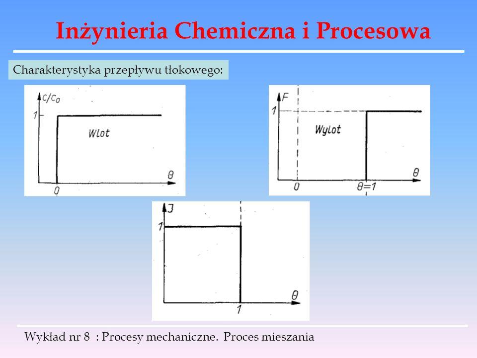 Inżynieria Chemiczna i Procesowa Wykład nr 8 : Procesy mechaniczne. Proces mieszania Charakterystyka przepływu tłokowego: