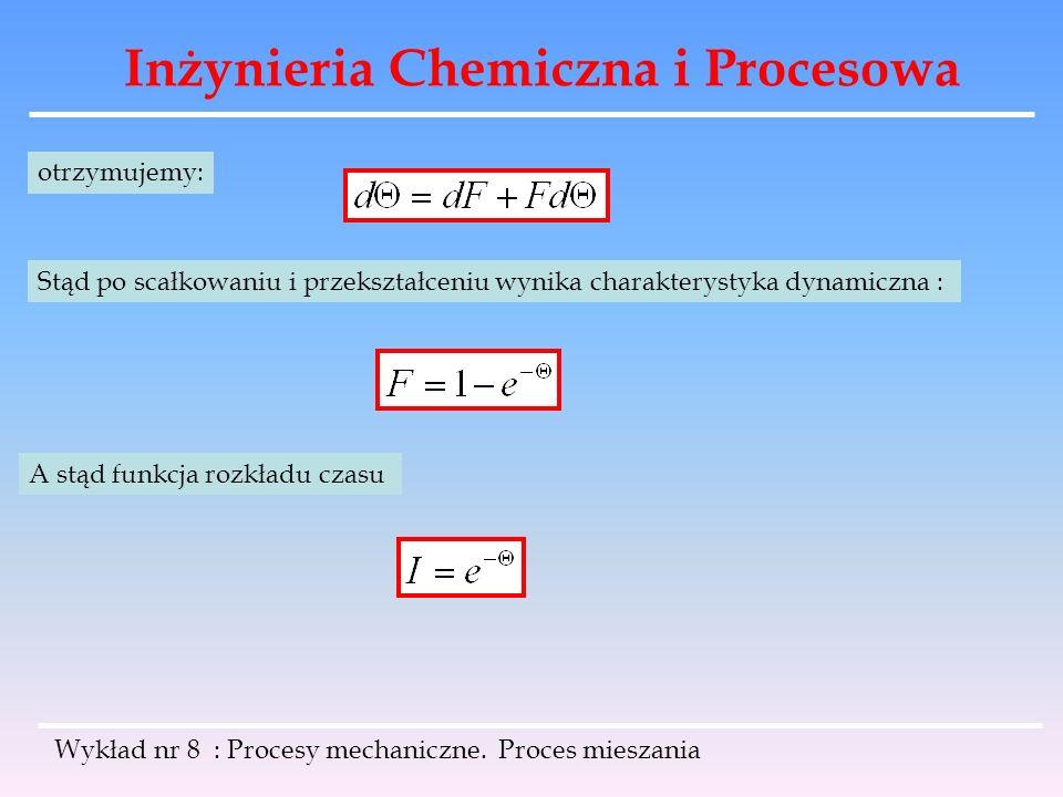 Inżynieria Chemiczna i Procesowa Wykład nr 8 : Procesy mechaniczne. Proces mieszania otrzymujemy: Stąd po scałkowaniu i przekształceniu wynika charakt