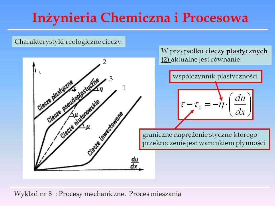 Inżynieria Chemiczna i Procesowa Wykład nr 8 : Procesy mechaniczne. Proces mieszania τ Charakterystyki reologiczne cieczy: 2 3 1 W przypadku cieczy pl