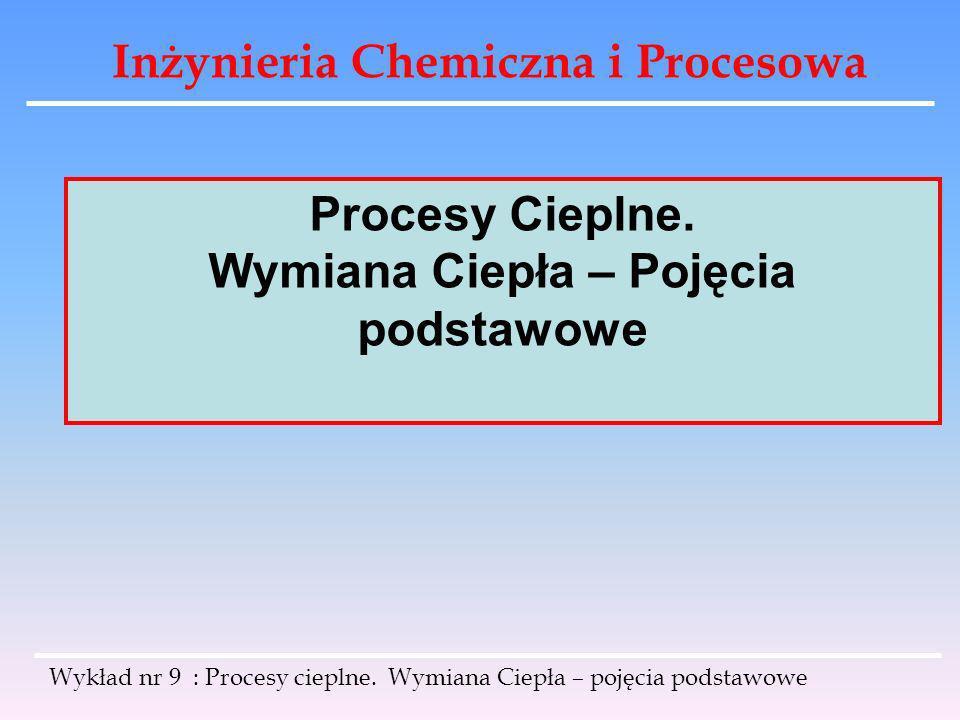 Inżynieria Chemiczna i Procesowa Wykład nr 9 : Procesy cieplne. Wymiana Ciepła – pojęcia podstawowe Procesy Cieplne. Wymiana Ciepła – Pojęcia podstawo