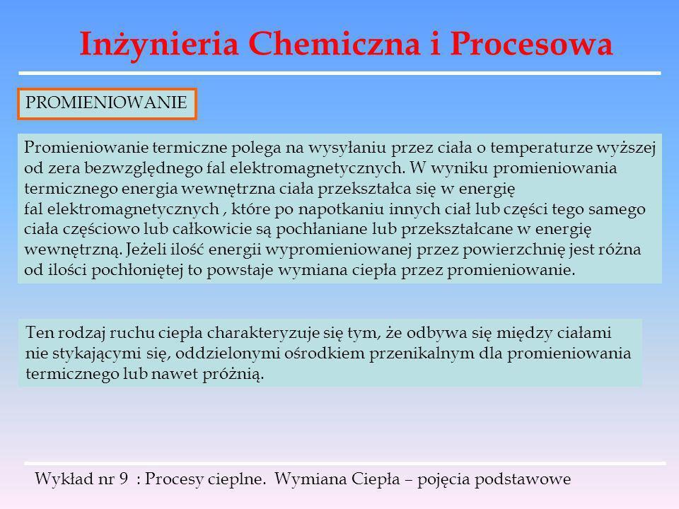 Inżynieria Chemiczna i Procesowa Wykład nr 9 : Procesy cieplne. Wymiana Ciepła – pojęcia podstawowe PROMIENIOWANIE Promieniowanie termiczne polega na