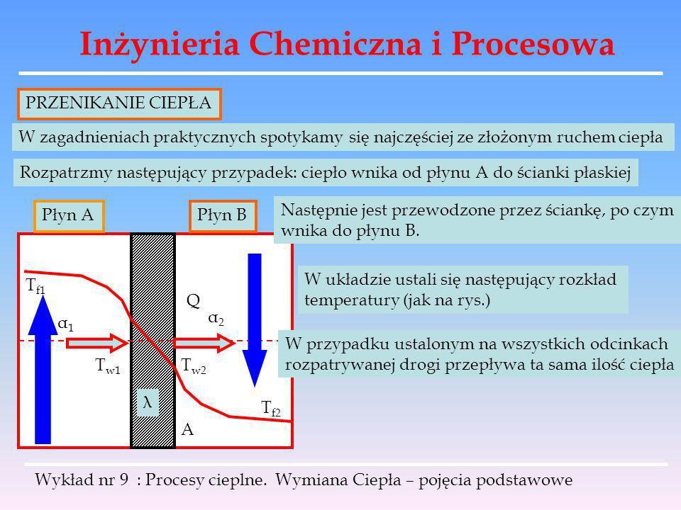 Inżynieria Chemiczna i Procesowa Wykład nr 9 : Procesy cieplne. Wymiana Ciepła – pojęcia podstawowe PRZENIKANIE CIEPŁA W zagadnieniach praktycznych sp