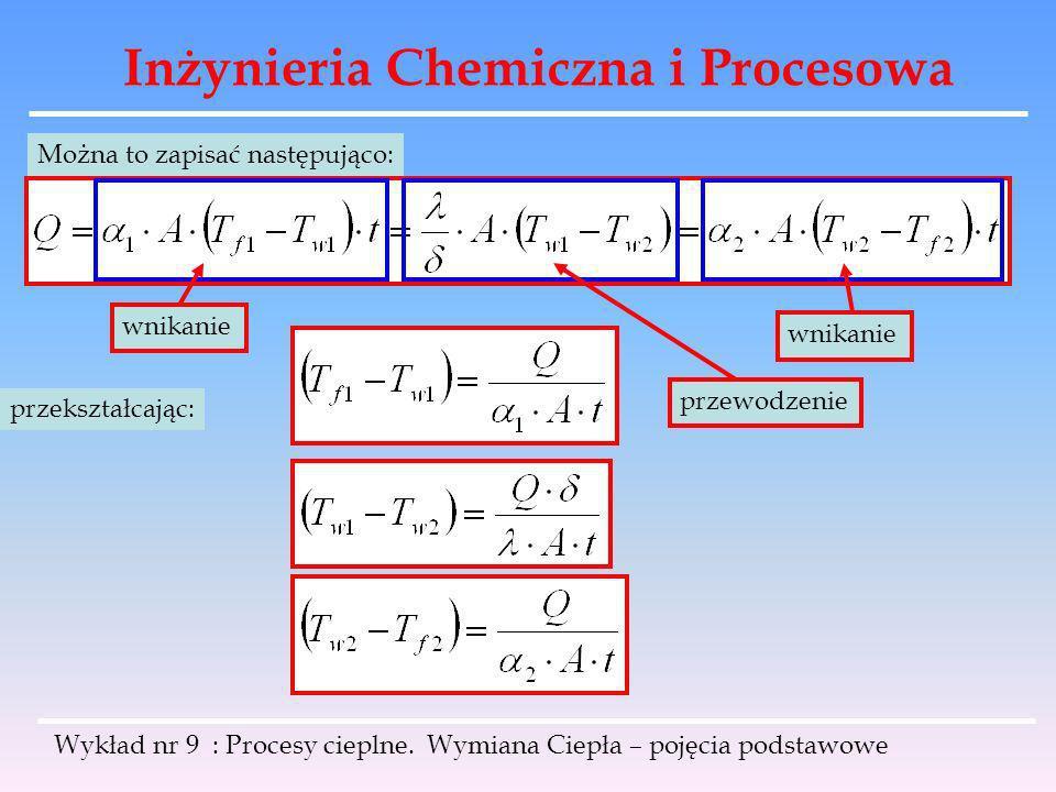 Inżynieria Chemiczna i Procesowa Wykład nr 9 : Procesy cieplne. Wymiana Ciepła – pojęcia podstawowe Można to zapisać następująco: wnikanie przewodzeni