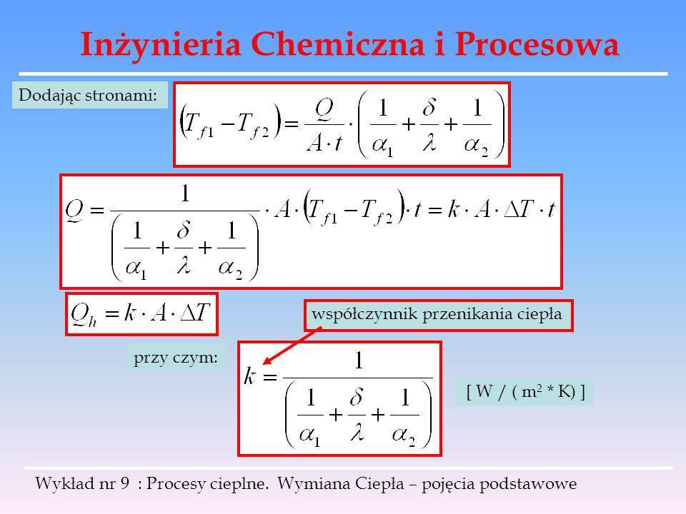 Inżynieria Chemiczna i Procesowa Wykład nr 9 : Procesy cieplne. Wymiana Ciepła – pojęcia podstawowe Dodając stronami: przy czym: współczynnik przenika