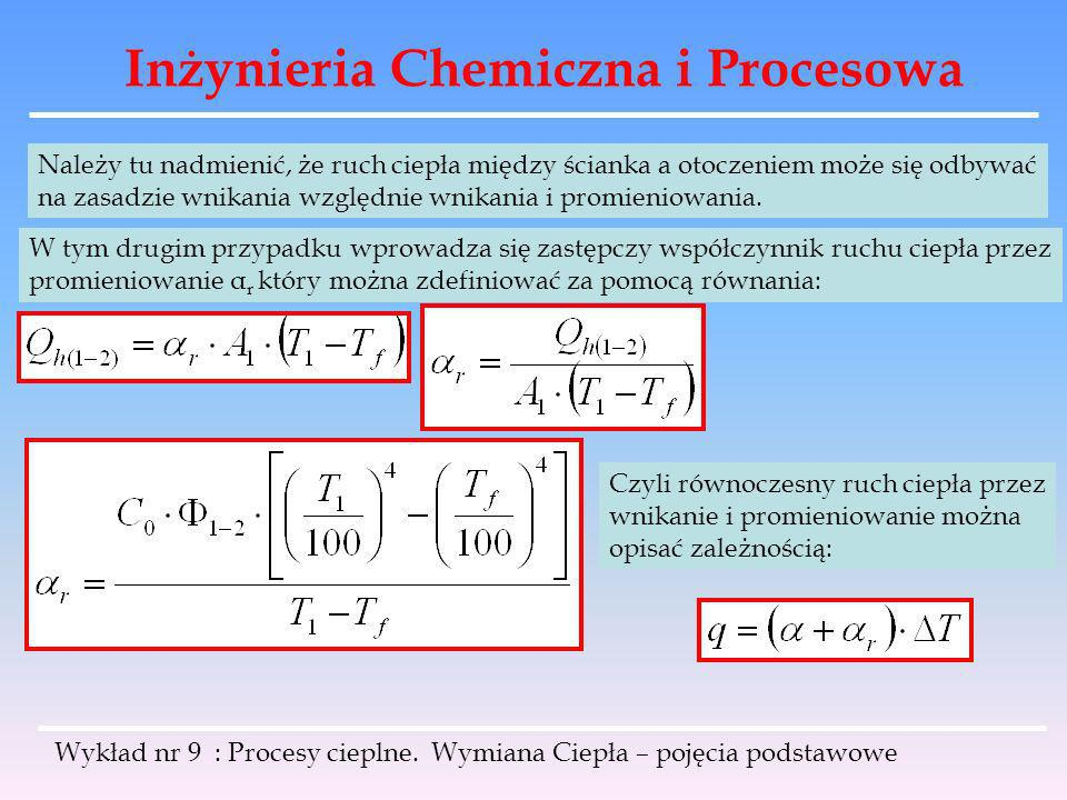 Inżynieria Chemiczna i Procesowa Wykład nr 9 : Procesy cieplne. Wymiana Ciepła – pojęcia podstawowe Należy tu nadmienić, że ruch ciepła między ścianka