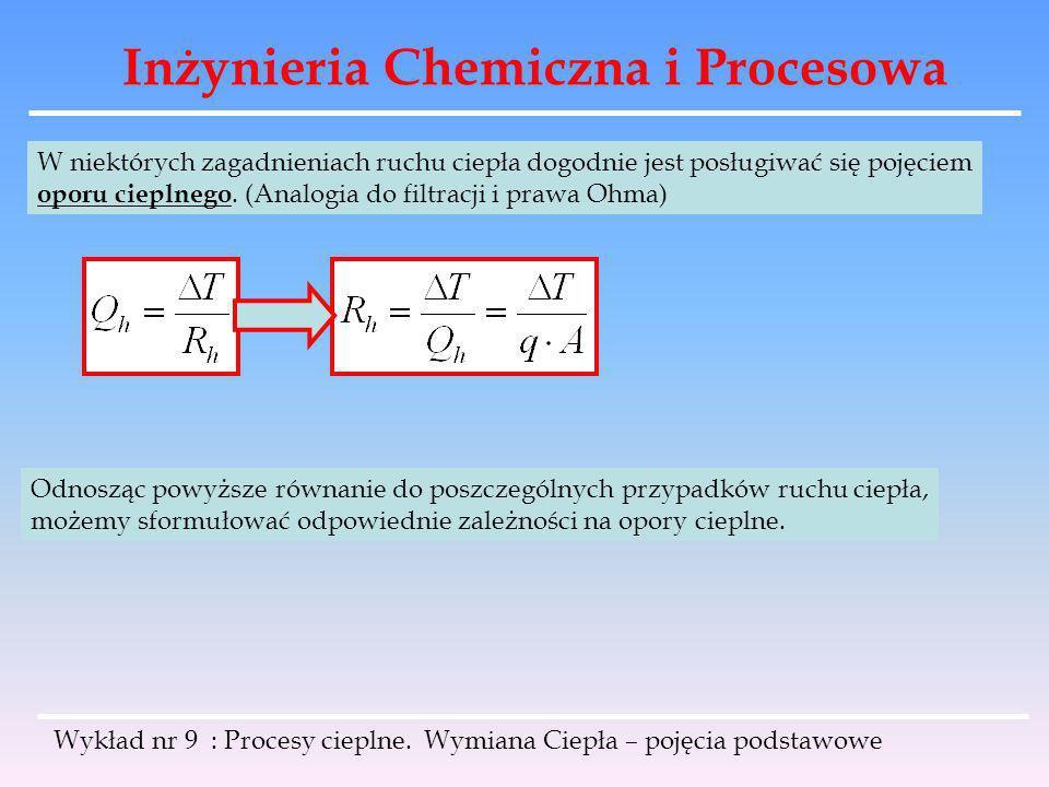 Inżynieria Chemiczna i Procesowa Wykład nr 9 : Procesy cieplne. Wymiana Ciepła – pojęcia podstawowe W niektórych zagadnieniach ruchu ciepła dogodnie j