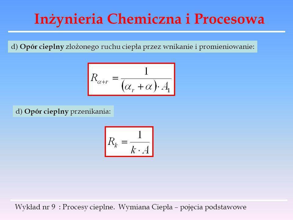 Inżynieria Chemiczna i Procesowa Wykład nr 9 : Procesy cieplne. Wymiana Ciepła – pojęcia podstawowe d) Opór cieplny złożonego ruchu ciepła przez wnika