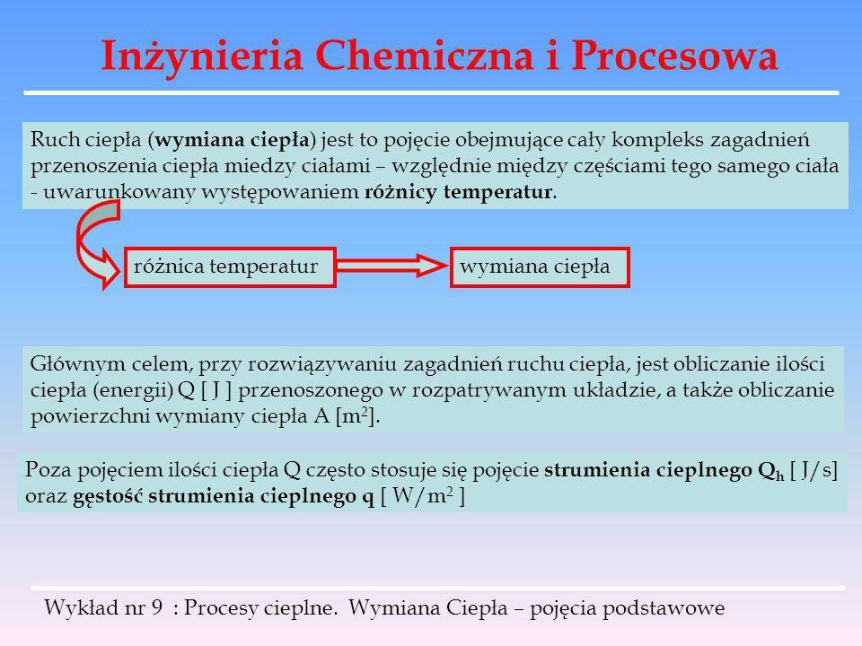Inżynieria Chemiczna i Procesowa Wykład nr 9 : Procesy cieplne. Wymiana Ciepła – pojęcia podstawowe Ruch ciepła ( wymiana ciepła ) jest to pojęcie obe