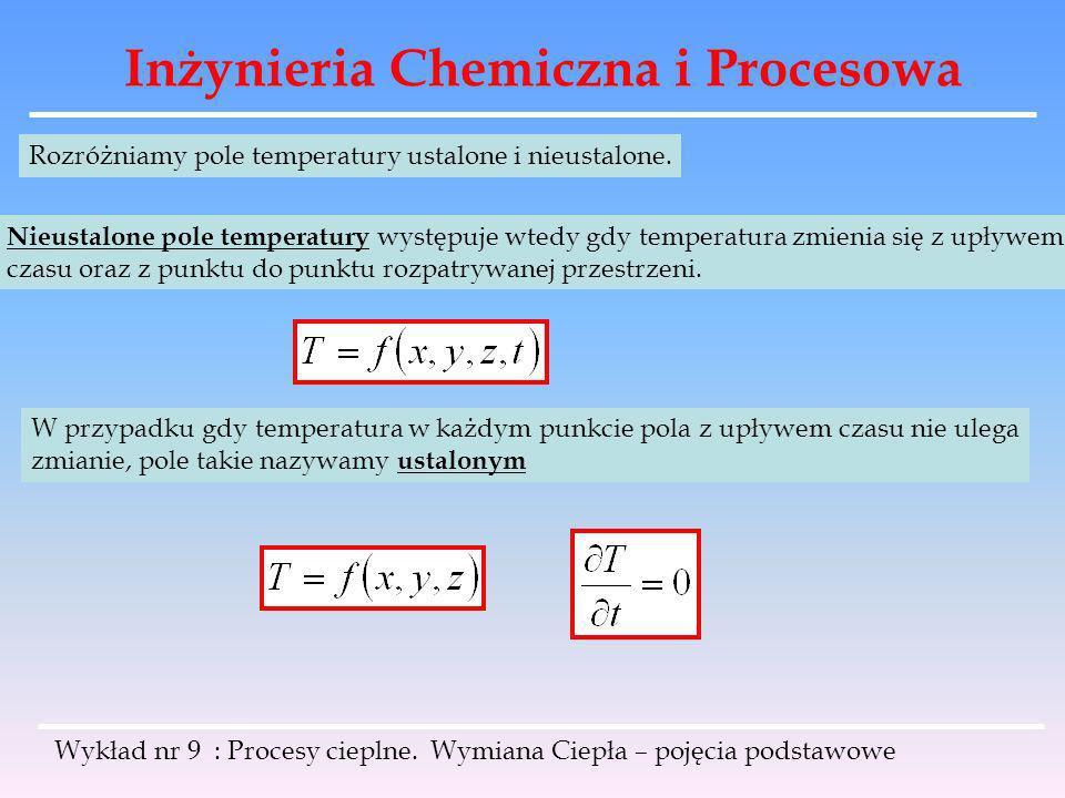 Inżynieria Chemiczna i Procesowa Wykład nr 9 : Procesy cieplne. Wymiana Ciepła – pojęcia podstawowe Rozróżniamy pole temperatury ustalone i nieustalon