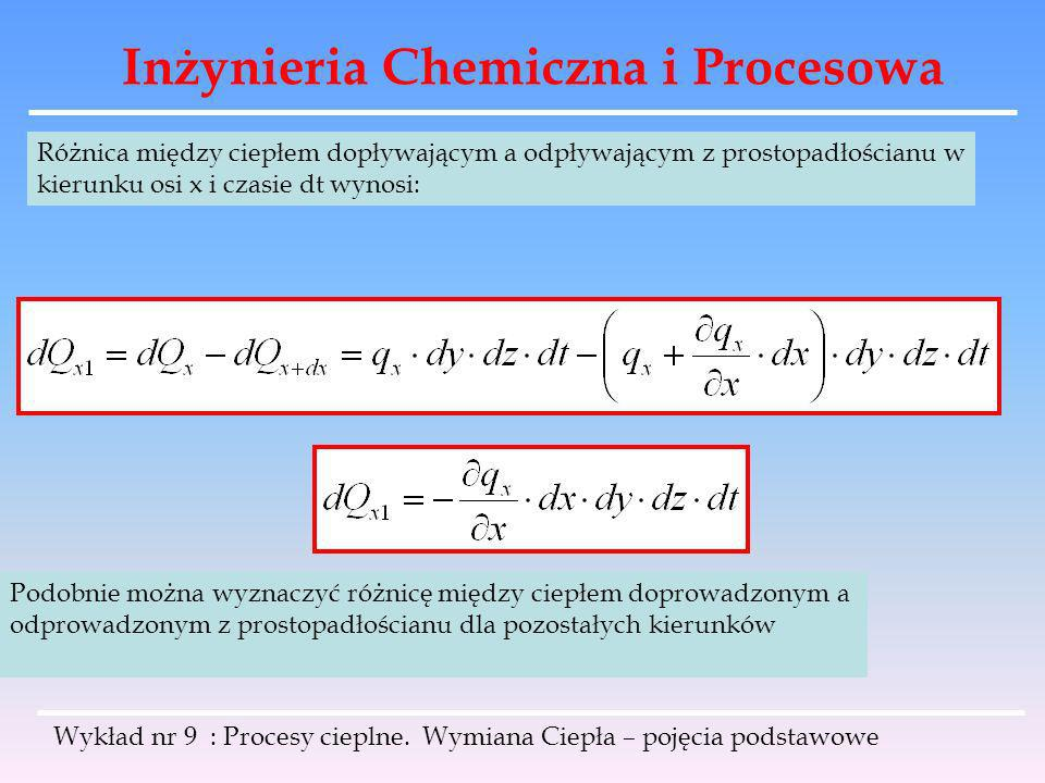 Inżynieria Chemiczna i Procesowa Wykład nr 9 : Procesy cieplne. Wymiana Ciepła – pojęcia podstawowe Różnica między ciepłem dopływającym a odpływającym