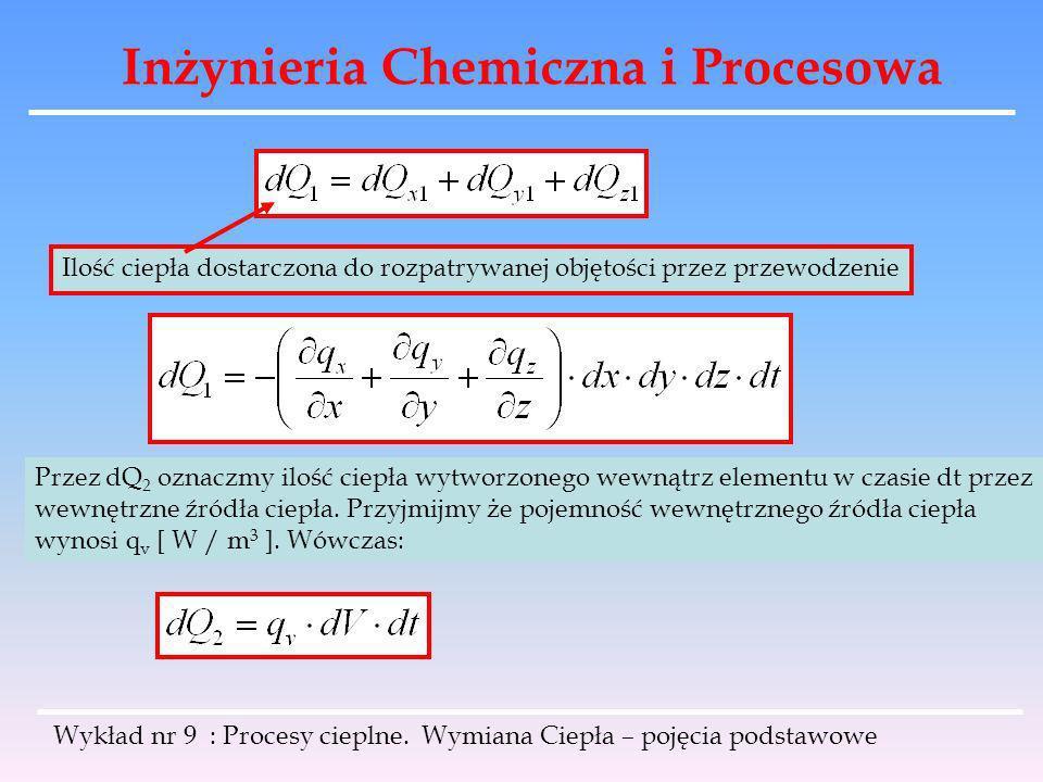 Inżynieria Chemiczna i Procesowa Wykład nr 9 : Procesy cieplne. Wymiana Ciepła – pojęcia podstawowe Ilość ciepła dostarczona do rozpatrywanej objętośc