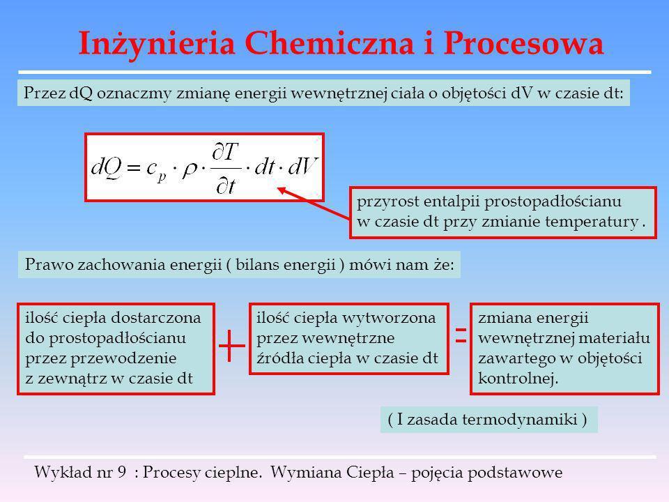 Inżynieria Chemiczna i Procesowa Wykład nr 9 : Procesy cieplne. Wymiana Ciepła – pojęcia podstawowe Przez dQ oznaczmy zmianę energii wewnętrznej ciała