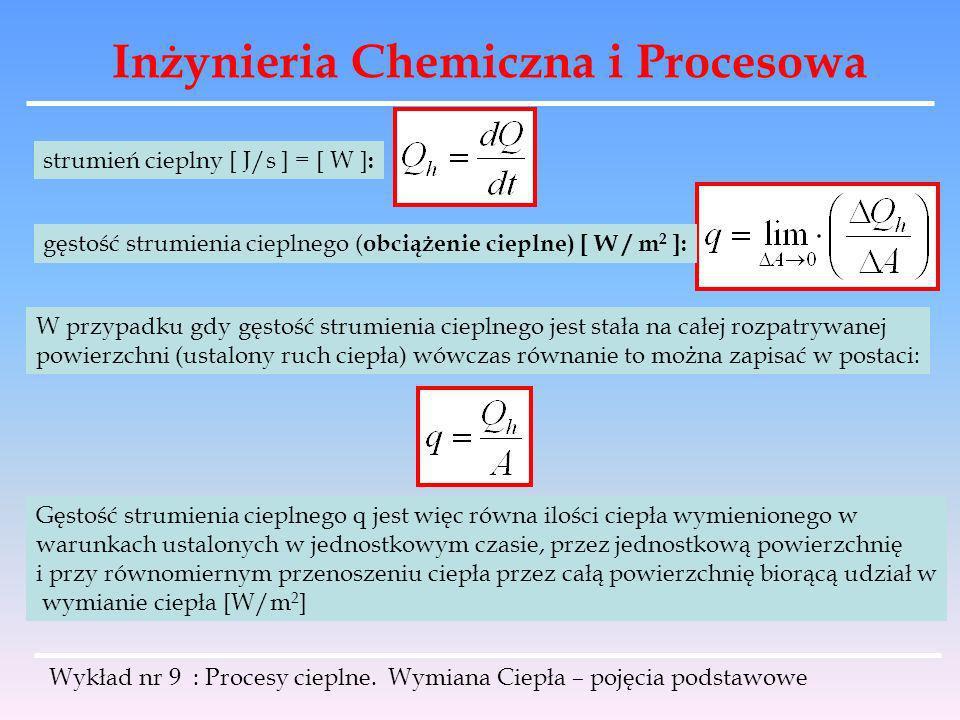 Inżynieria Chemiczna i Procesowa Wykład nr 9 : Procesy cieplne. Wymiana Ciepła – pojęcia podstawowe gęstość strumienia cieplnego ( obciążenie cieplne)