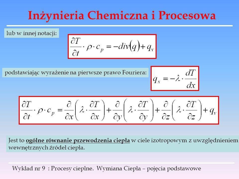 Inżynieria Chemiczna i Procesowa Wykład nr 9 : Procesy cieplne. Wymiana Ciepła – pojęcia podstawowe lub w innej notacji: podstawiając wyrażenie na pie