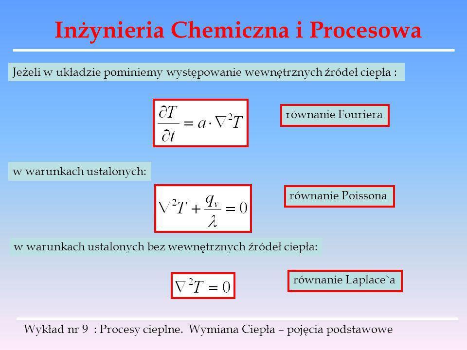 Inżynieria Chemiczna i Procesowa Wykład nr 9 : Procesy cieplne. Wymiana Ciepła – pojęcia podstawowe Jeżeli w układzie pominiemy występowanie wewnętrzn